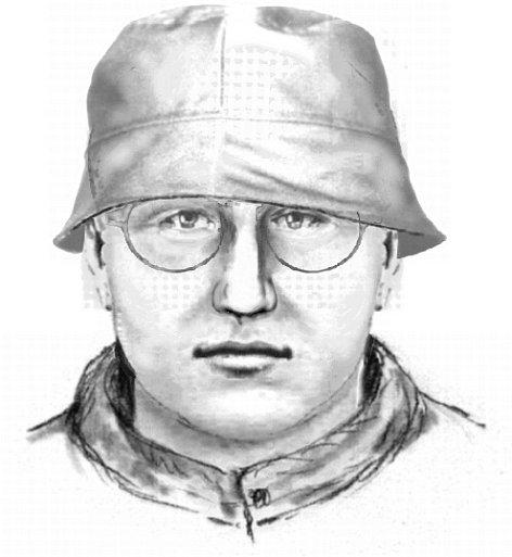 Identikit pachatele, který chtěl okrást pošťačku v Trhových Dušníkách. Muž byl asi 175 centimetrů vysoký, statnější postavy