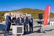 Ze slavnostního zahájení stavby bezpečnostního přelivu na přehradě Orlík 20. října 2021.