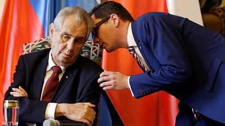 Prezident ČR Miloš Zeman a jeho mluvčí Jiří Ovčáček.