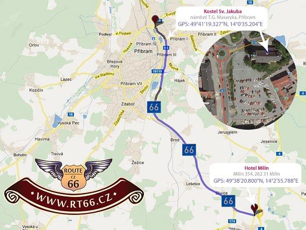 Trasa české Route 66 je dlouhá přibližně 20 kilometrů a vede z Příbrami do Milína a zpátky