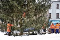 Vánoční stromy už náměstí v Příbrami nezdobí. V úterý je pracovníci technických služeb rozřezali a odvezli.