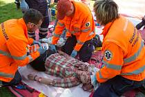 Středočeští záchranáři nacvičovali zásah na Slapské přehradě.