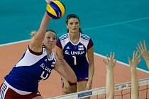 Andrea Kossányiová (č. 1) byla oporou ženské reprezentace v baráži s Bulharskem.