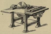 """Šindelka se skládá z litinového rámu, na kterém je napsáno """"Gangloff´s patent"""" a poměrně velkého pracovního stolu s několika cirkulárkami a hoblíkem."""