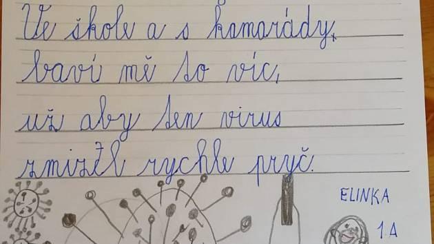Básnička Elišky Markové ze třídy 1.A Základní školy Sedlec-Prčice.