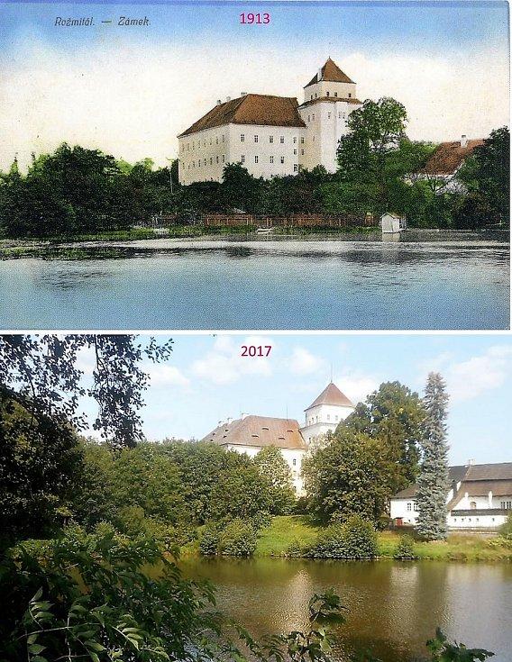 Rožmitál pod Třemšínem - zámek přes rybník Kuchyňku.
