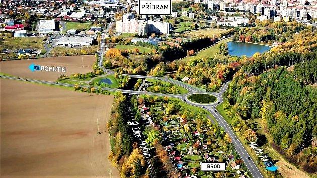 Návrh části jihovýchodního obchvatu upříbramské osady Brod.