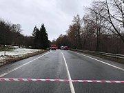 Uzavřená Milínská ulice v Příbrami kvůli tragické dopravní nehodě v úterý 8. ledna 2019.