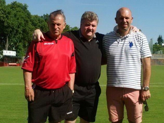 Trenérské trio Spartaku Příbram (zleva): Miroslav Zubek, Marek Zárybnický a Petr Zárybnický.