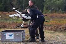 Cvičení v Brdech - simulace pádu malého letadla.