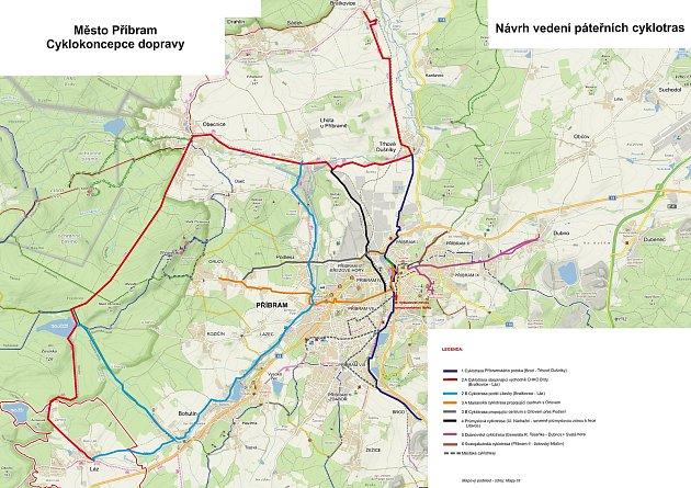 Návrhy cyklotras na území Příbrami.