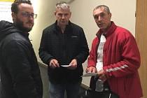 Trenérský štáb A mužstva HC Příbram. Zleva: Miroslav Hájek (asistent trenéra), Pavel Marek (asistent trenéra), Jan Tlačil (hlavní trenér).