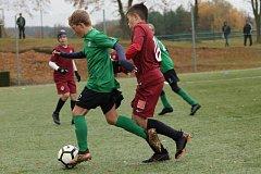 Souboj. Žáci 1. FK Příbram svedli souboje se Spartou. Hráči kategorie U13 prohráli 8:10, hráči U12 zvítězili 8:6.