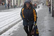 Sněžení v Příbrami.