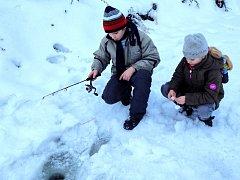 """FOTO: Aleš HaluskaRožmitál – Děti z rybářského kroužku místní organizace v Rožmitále pod Třemšínem se v zimním období schází pravidelně každý týden v tělocvičně a učebně zdejší školy. """"Tady vedeme spíše teoretickou výuku o rybařině. Děti to sice baví, ale"""
