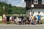 První charitativní pochod skupiny dobříšských fanoušků pro Městský fotbalový klub Dobříš.