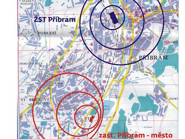 Mapka s vyznačenými železničními stanicemi.