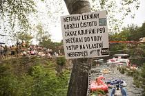Závody skokanů do vody v Hříměždicích.