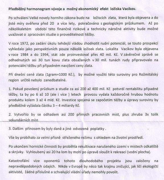 Plakát firmy, co má zájem ozlato vPetráškově hoře.