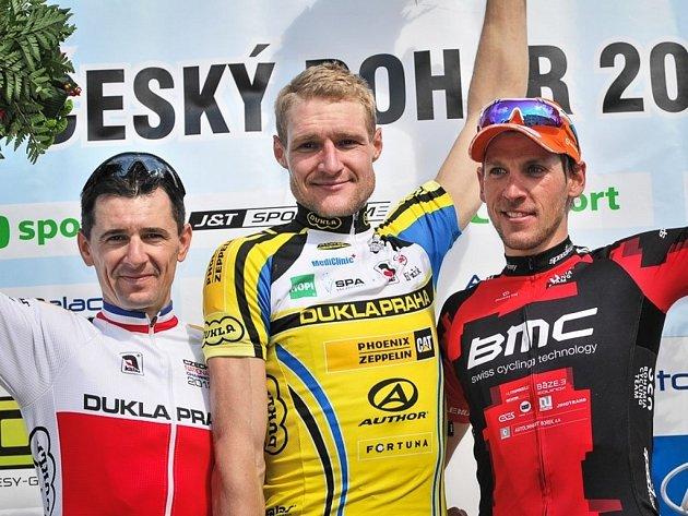 Trio nejlepších v závodě Českého poháru GO v Blatné (zleva): Kadlec, Kaňkovský, Lechner.