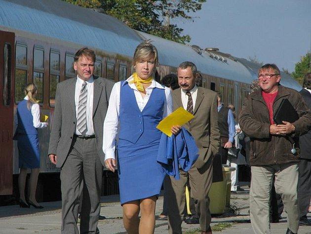 Slavnostní otevření tratě Zdice - Protivín v Březnici