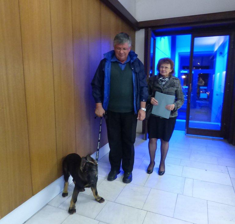ŠTĚNĚ doprovodilo svého pána Milana Šeráka a jeho manželku až před volební místnost.