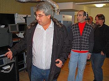 Starosta Příbrami Josef Řihák s vedoucím kina Petrem Rybkou a ředitelem divadla Petrem Bednářem