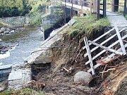 Povodně v roce 2002 - jez v Rožmitále pod Třemšínem