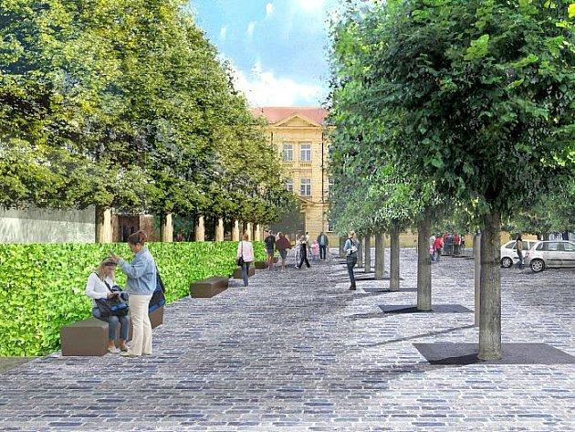Vizualizace zamýšlené podoby Komenského náměstí po rekonstrukci. Dobříš na projekt ale nemá peníze, proto musela opravu odložit.