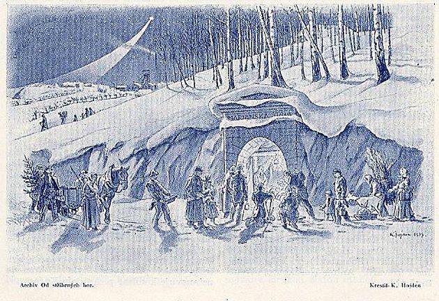 Jedno z děl Karla Hojdena znázorňující vánoční oslavy.