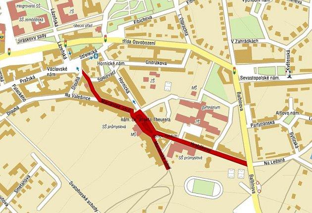 Ve vyznačených ulicích bude provedena rekonstrukce kanalizace