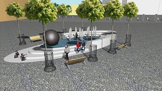 Návrh Svatohorské fontány, která by měla být mezi kostelem svatého Jakuba a úřadem práce