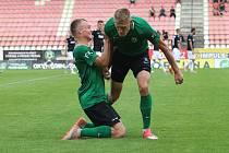 Takhle se fotbalisté Příbrami radovali po utkání s Jabloncem. Budou se radovat i proti Plzni?