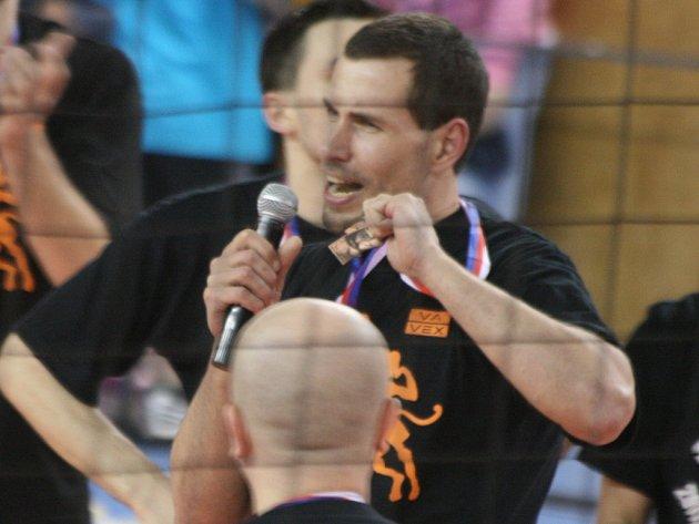 Oslava bronzových medailí volejbalistů Příbrami.
