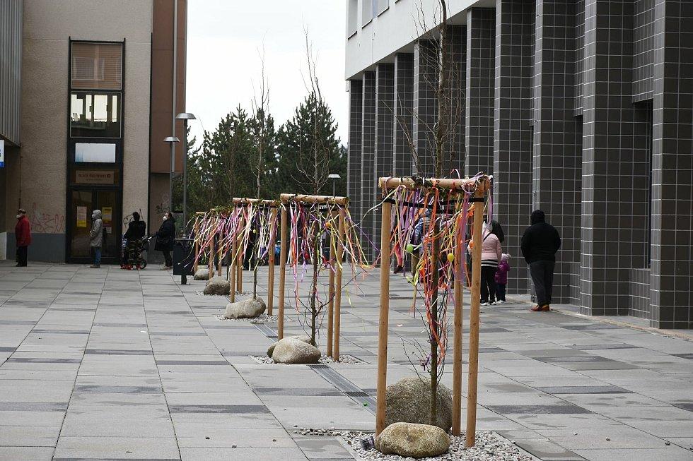 Rekonstrukce pěší zóny Cíl, známější jako Křižáky, se podle obyvatel Příbrami příliš nepovedla. Stromky ozdobila velikonoční výzdoba.