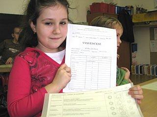 Vysvědčení na Základní škole Jiráskovy sady v Příbrami
