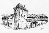 Pičínská tvrz na kresbě inženýra Kalerty z Nového Knína.