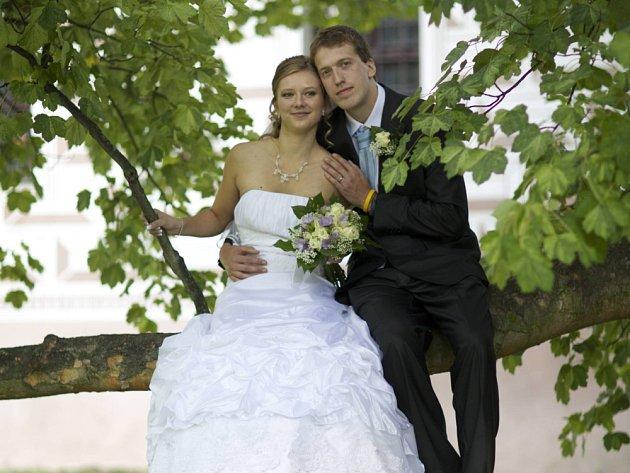 """Eliška Branžovská a David Novák si řekli své """"ano"""" v zámecké kapli v Březnici v pátek 28. září v poledne."""