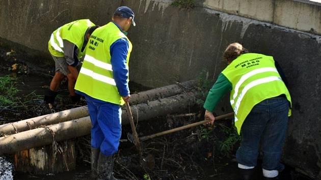 Příbramští Romové se zapojili do čištění potoka.