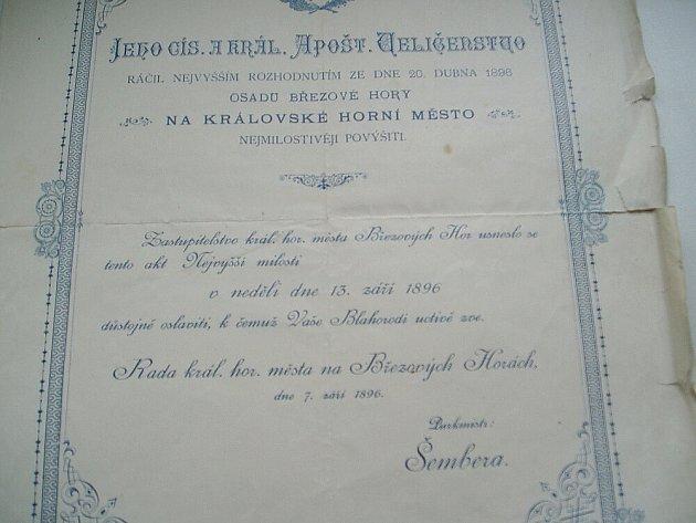 Dokument, který dokládá, že Březové Hory byly Královským horním městem.