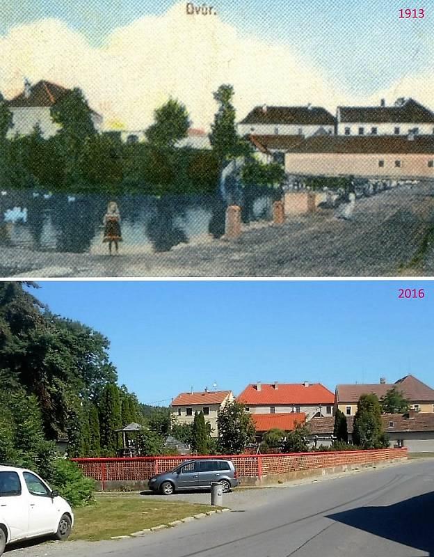 Pičín - Pohled od fary. Rybník se jmenoval Příkop, místo něj je dnes dětské hřiště, na obzoru panský dvůr a škola ze strany.