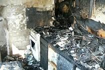Vyhořelý byt v Příbrami.
