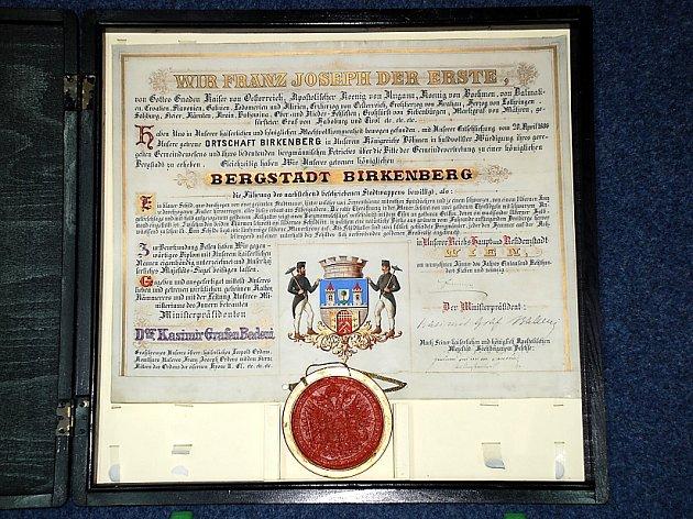 ZNAK Březových Hor vyobrazený a popsaný na privilegiu vydaném samotným císařem 19. ledna 1897.