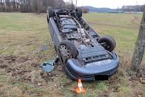 Dopravní nehoda, která se stala 8. ledna u obce Dolní Hbity.