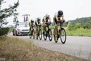 ÚSPĚŠNÉ VYSTOUPENÍ mají za sebou cyklisté z Mladé Boleslavi a Příbrami. Na časovkářském MČR v Račicích získali dohromady čtyři medaile.