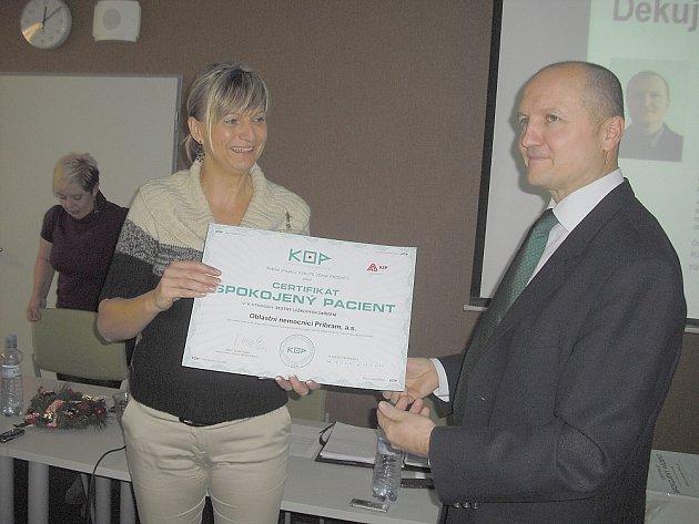 Příbramská nemocnice dostala certifikát Spokojený pacient.