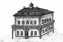 Historický nákres původní budovy dobříšské radnice, jak vypadala v roce 1666.