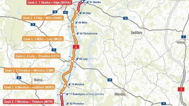 Mapa dálnice D4.