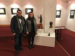 Foto z vernisáže a několika vystavených děl, archiv Barbory Fausové
