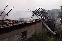 Požár stodoly v Nechvalicích.